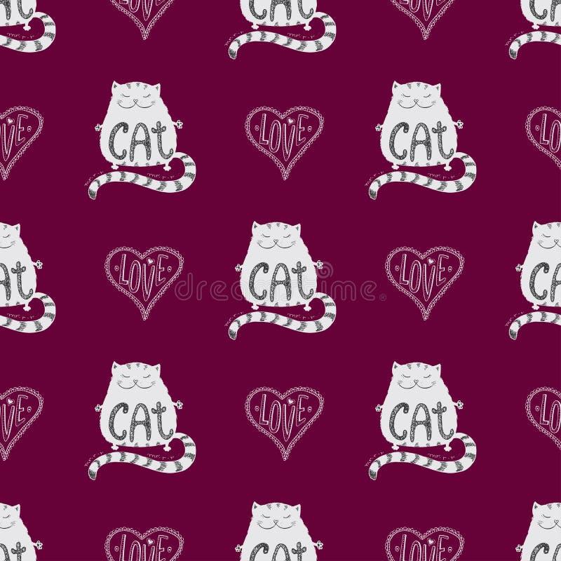 Gullig katt för sömlös modell med förälskelsehjärta royaltyfri illustrationer