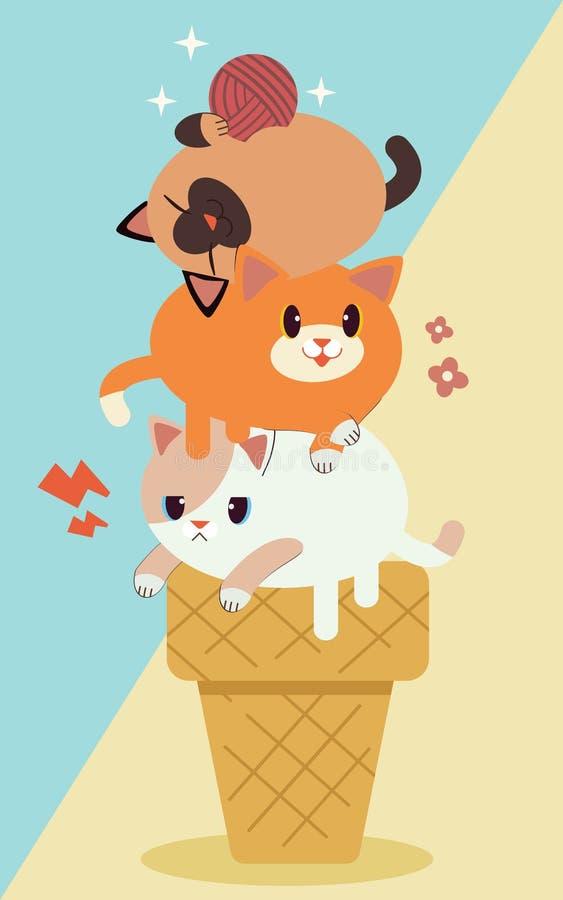 Gullig katt för tecken tre på icecream stock illustrationer