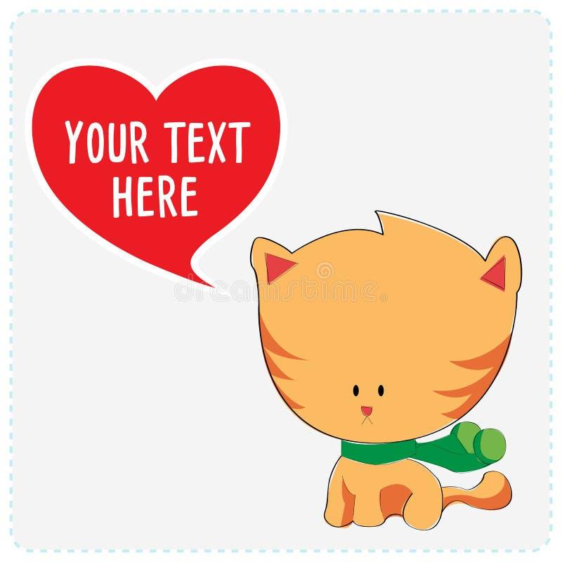 Gullig katt för tecknad film stock illustrationer