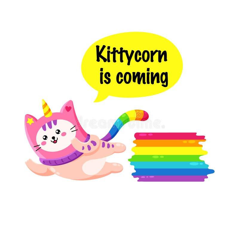 Gullig katt för tecknad filmvektorklotter royaltyfri illustrationer