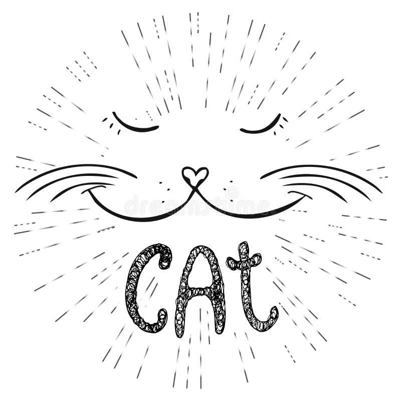 Gullig katt, hand dragen T-tröjadesign eller hälsningkort vektor illustrationer