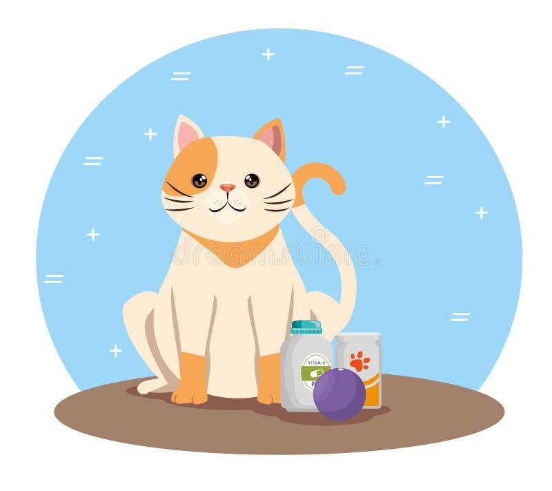 Gullig katt med älsklings- vänskapsmatch för produkter royaltyfri illustrationer