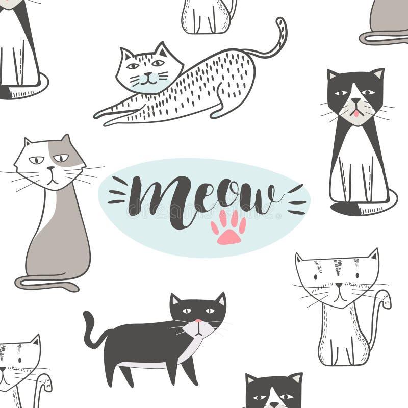 Gullig katt med den hand drog tecknade filmen Höftflygturstil stock illustrationer