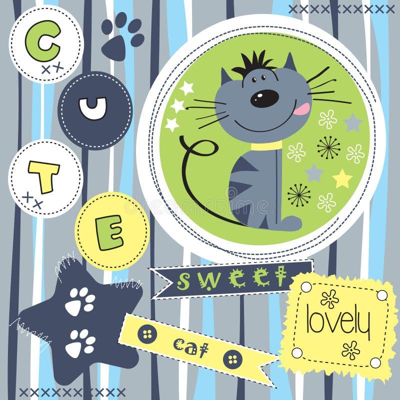 Gullig katt med den randiga bakgrundsillustrationen stock illustrationer