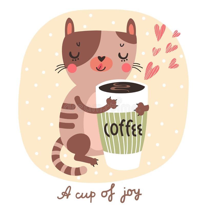Gullig katt med en kopp kaffe royaltyfri illustrationer