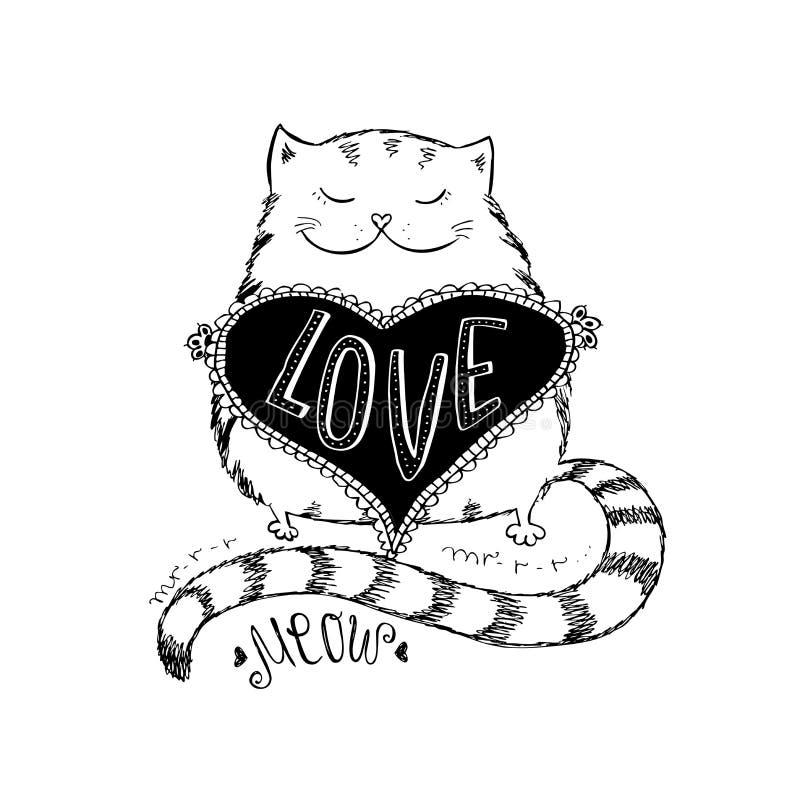 Gullig katt med förälskelsehjärta stock illustrationer