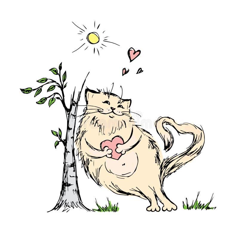Gullig katt med hjärta nära träd stock illustrationer