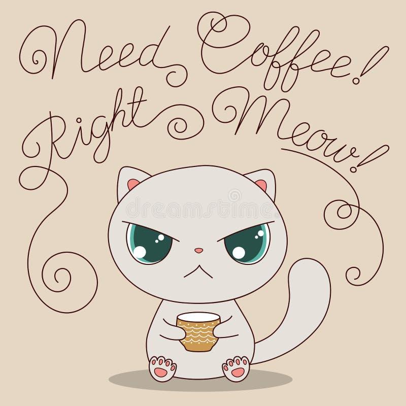 Gullig katt med koppen kaffe royaltyfri illustrationer