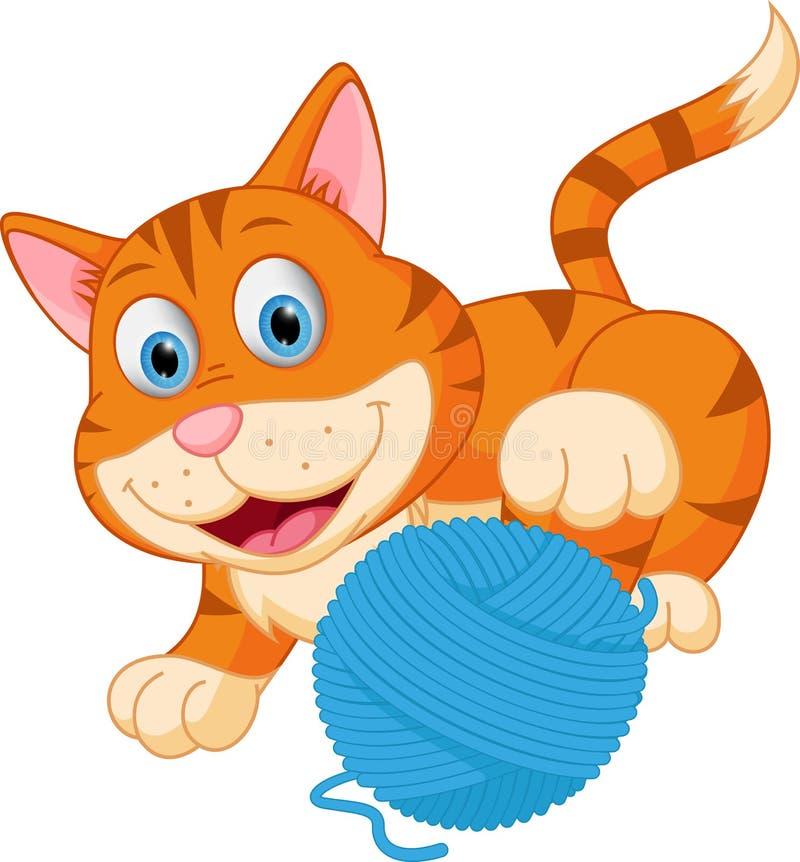 Gullig katt som spelar med en boll royaltyfri illustrationer