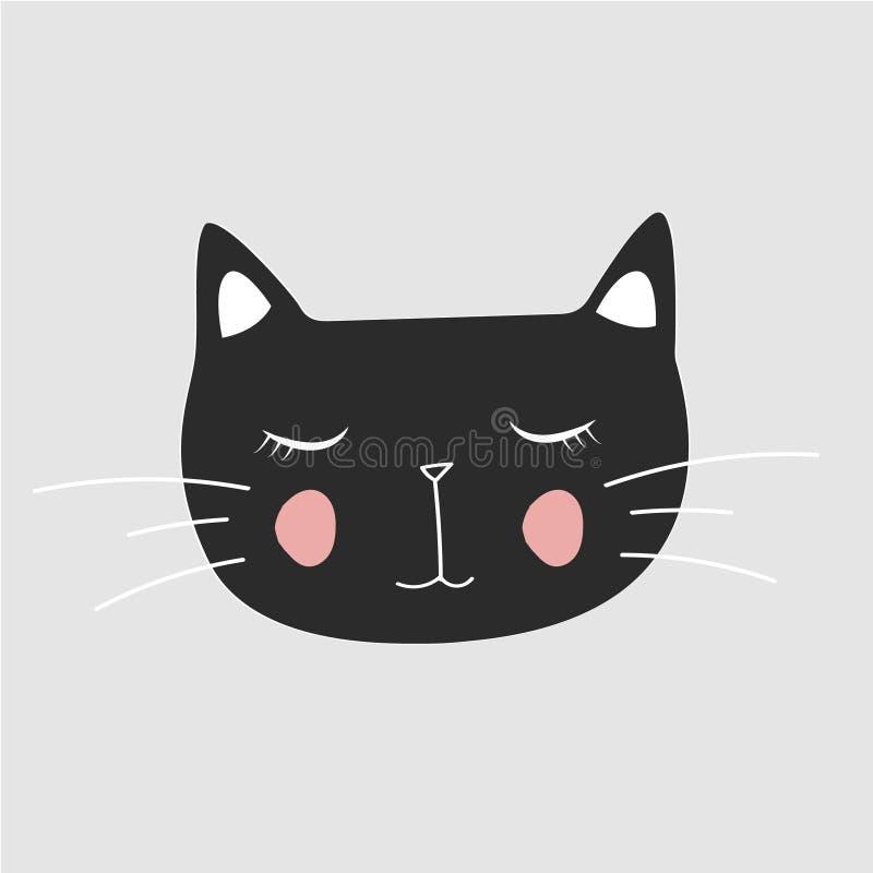 Gullig katt, T-tröjatryck, dag för valentin` s, djur teckning, tecknad filmtecken, stock illustrationer