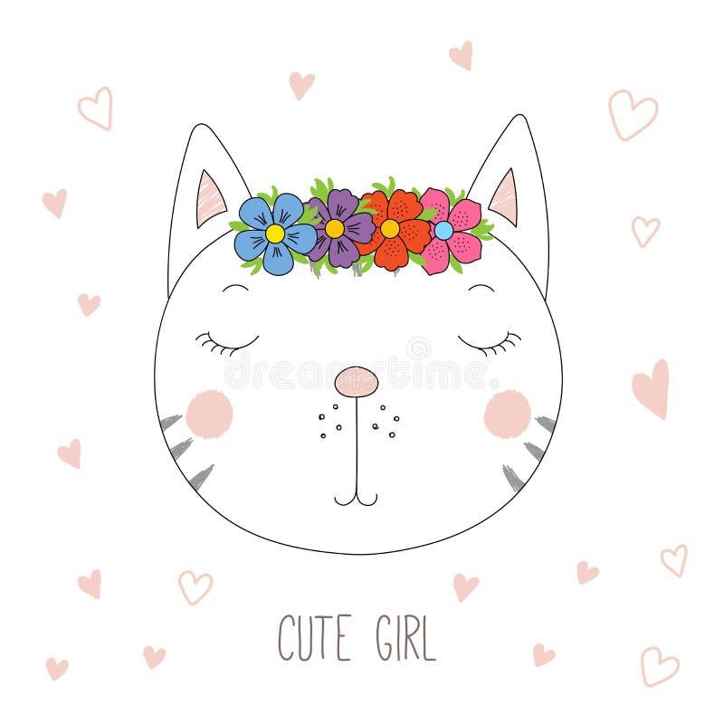 Gullig kattflickastående stock illustrationer