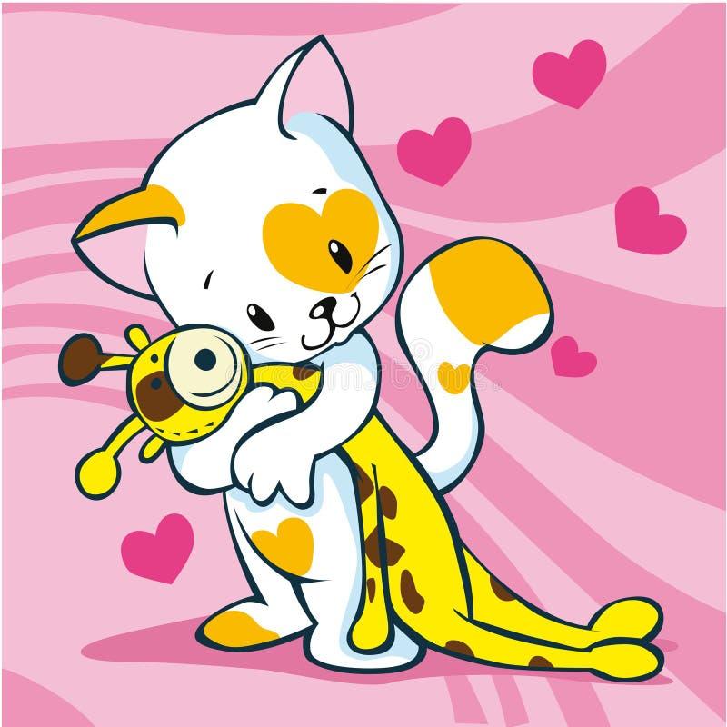 Gullig kattholdingtoy stock illustrationer