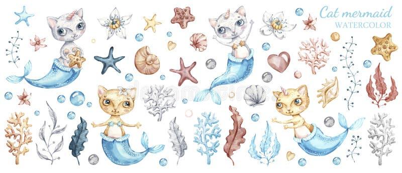 Gullig kattsjöjungfru, vattenfärgillustrationuppsättning royaltyfri illustrationer