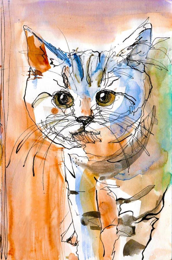 Gullig kattunge med bandvattenfärgmålning royaltyfri fotografi