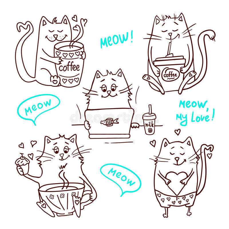 Gullig kattuppsättning 2 stock illustrationer