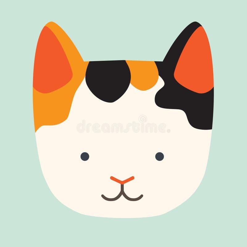 Gullig kattvektorsymbol royaltyfri illustrationer