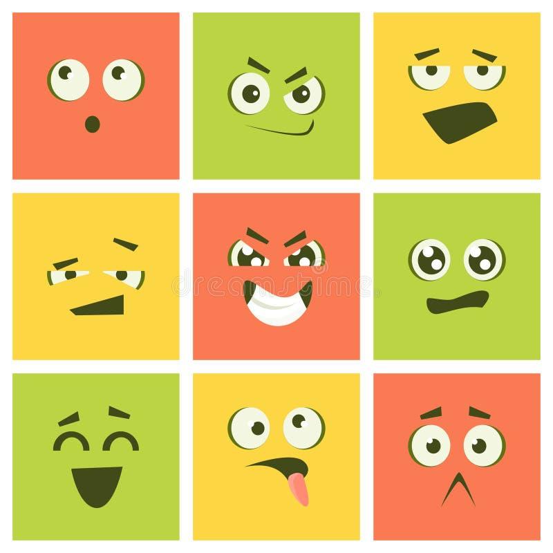 Gullig Kawaii Emoticonsuppsättning, färgrika Emoji fyrkanter med den olika sinnesrörelsevektorillustrationen stock illustrationer