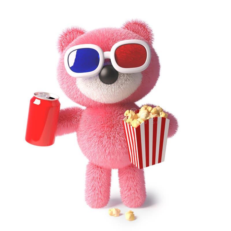 Gullig kelig rosa nallebjörn som äter popcorn och dricker sodavatten, medan hålla ögonen på 3d en film, illustration 3d royaltyfri illustrationer