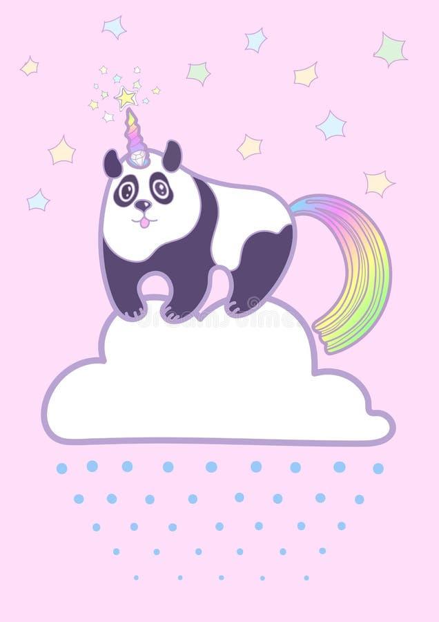 Gullig knubbig panda för vektor royaltyfri illustrationer