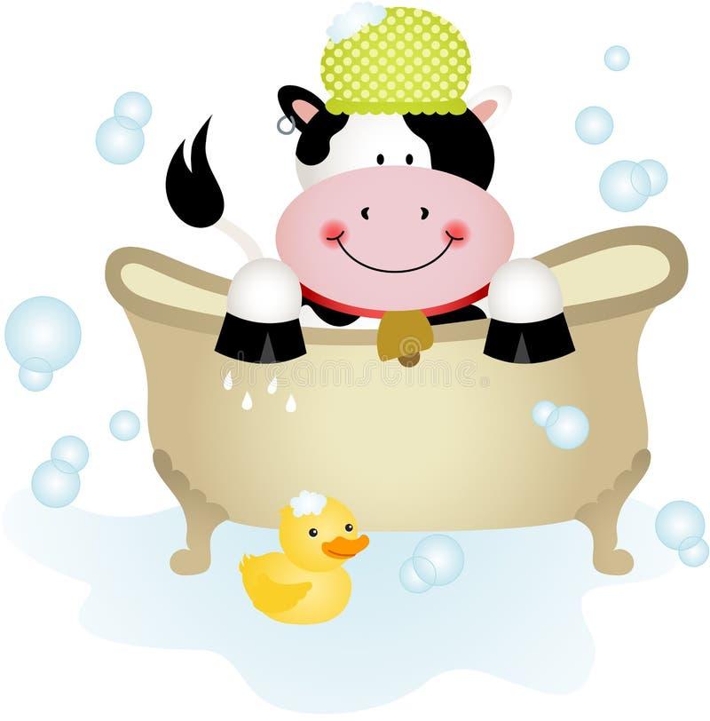 Gullig ko som tar ett bad stock illustrationer