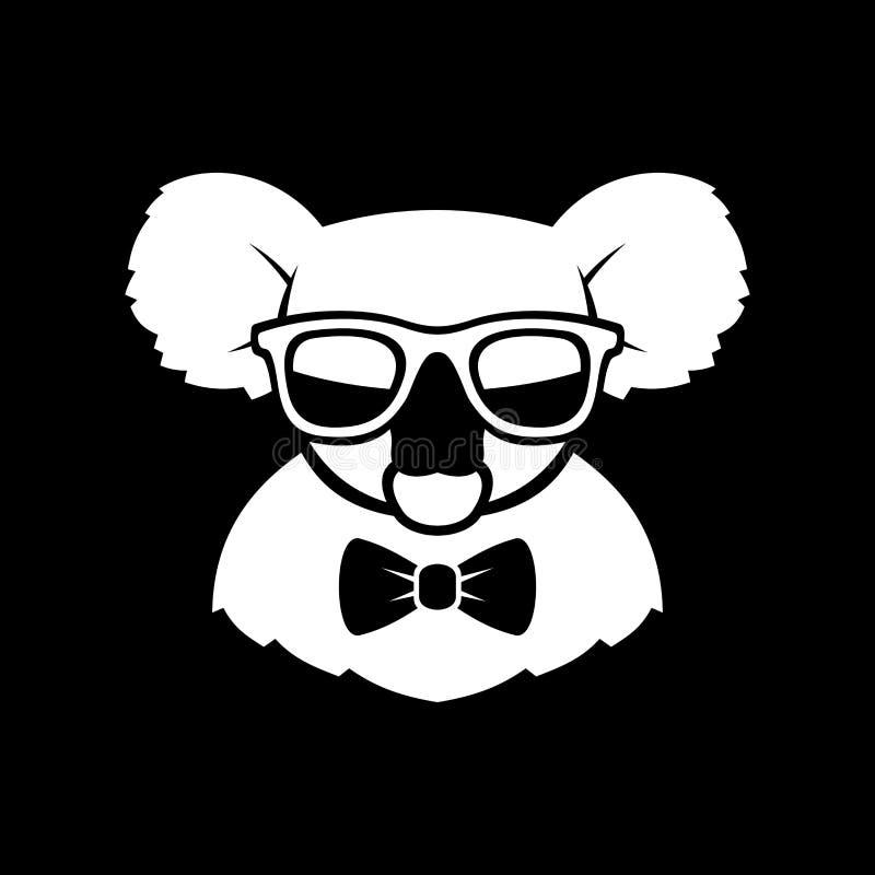 Gullig koala för Hipster i exponeringsglas och fluga Enkla Logo Sign vektor royaltyfri illustrationer