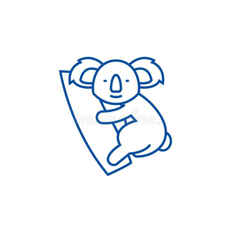 Gullig koalalinje symbolsbegrepp Plant vektorsymbol för gullig koala, tecken, översiktsillustration royaltyfri illustrationer