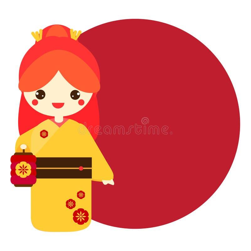 Gullig kokeshi Hållande lykta för traditionell japansk docka vektor illustrationer