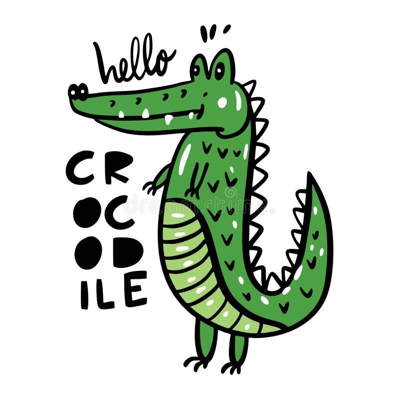 Gullig krokodil i tecknad filmstil Hand tecknad vektorillustration vektor illustrationer