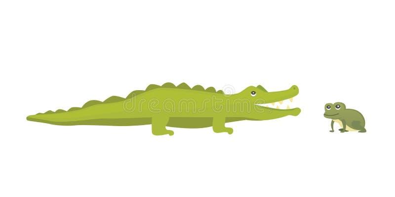 Gullig krokodil och groda Illustration för alligatorvektortecknad film royaltyfri illustrationer