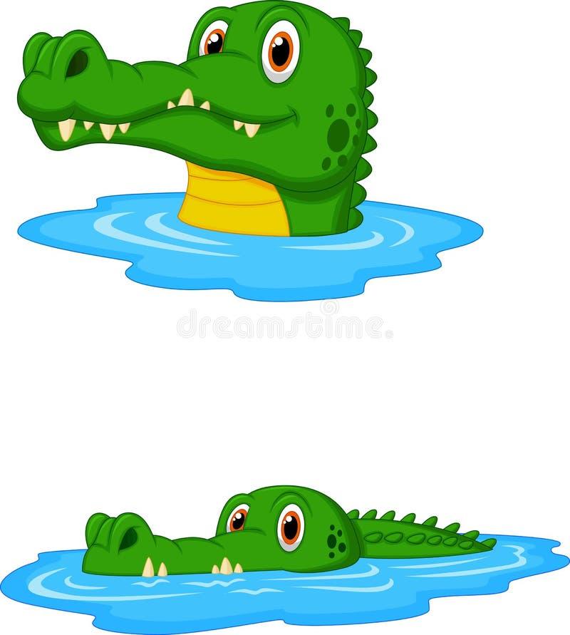 Gullig krokodiltecknad filmsimning royaltyfri illustrationer