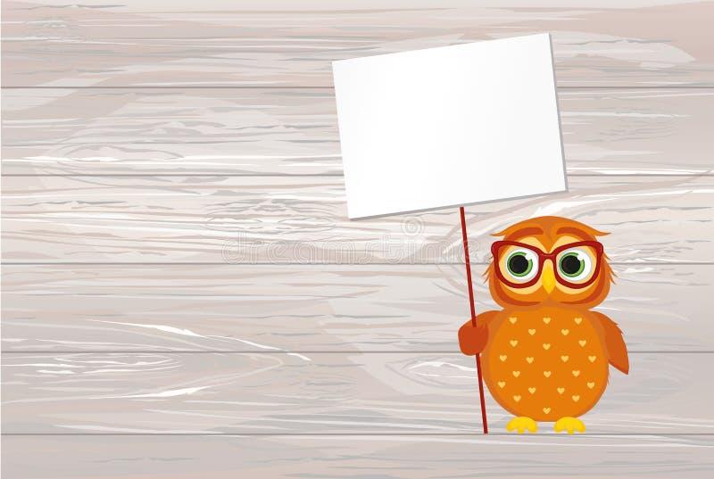 Gullig kulör uggleunge som rymmer en tom affisch för din text eller royaltyfri illustrationer