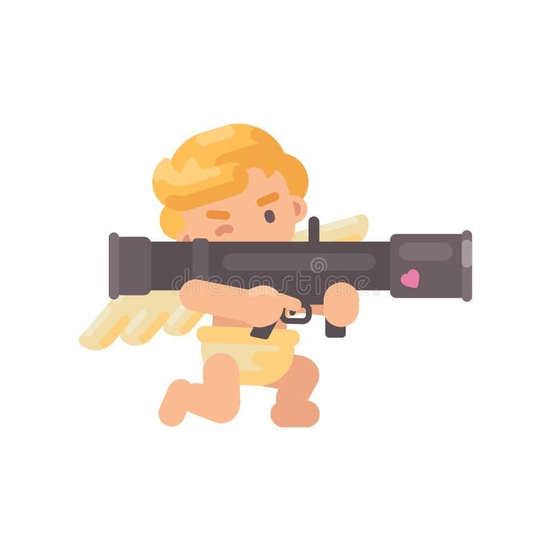 Gullig kupidon som skjuter en stor förälskelsebazooka Symbol för valentindaglägenhet royaltyfri illustrationer