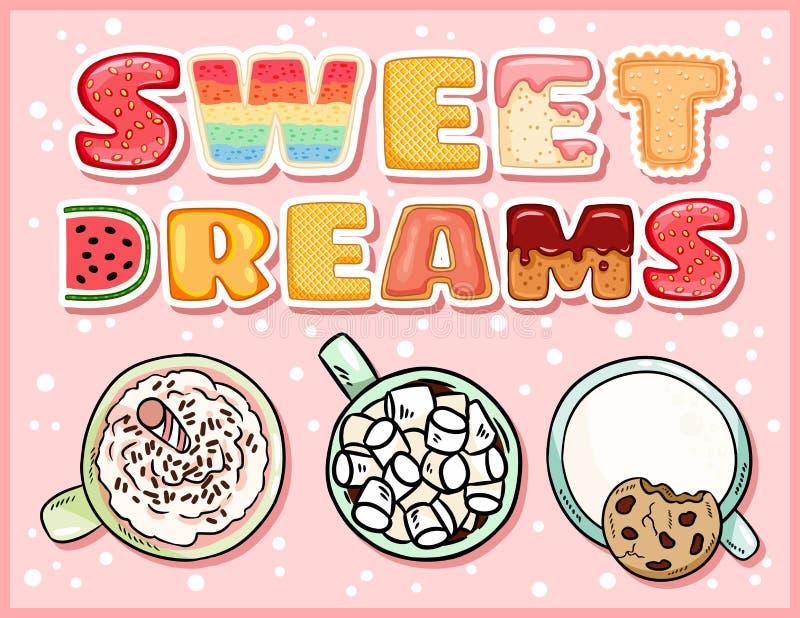 Gullig läcker vykort för söta drömmar med koppar av söta drinkar Hemtrevligt kaffe rånar med att fresta inskriftreklambladet vektor illustrationer