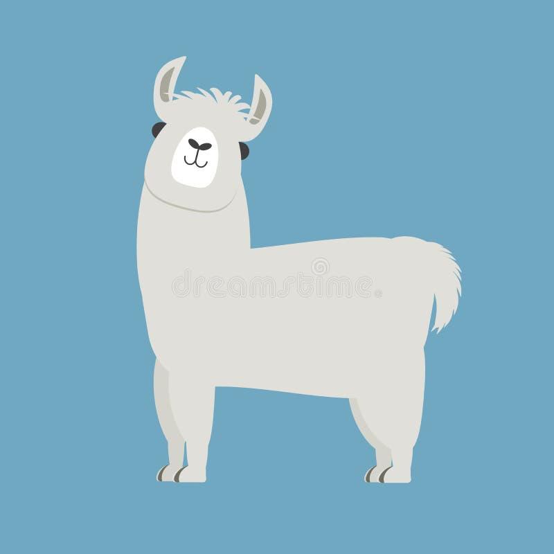 Gullig lama eller alpaca stock illustrationer