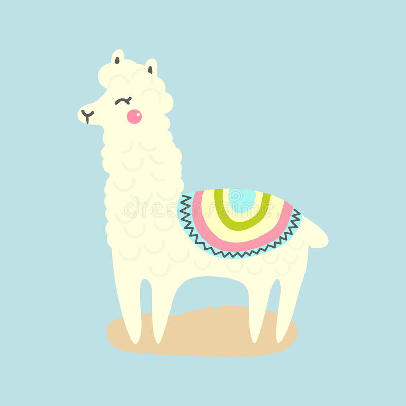 Gullig lama för vektor eller alpacaillustration roligt djur stock illustrationer
