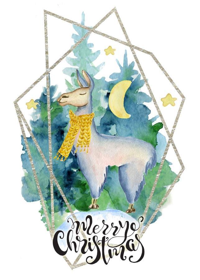 Gullig lama i grön illustration för glad jul för halsdukvattenfärg hand dragen stock illustrationer