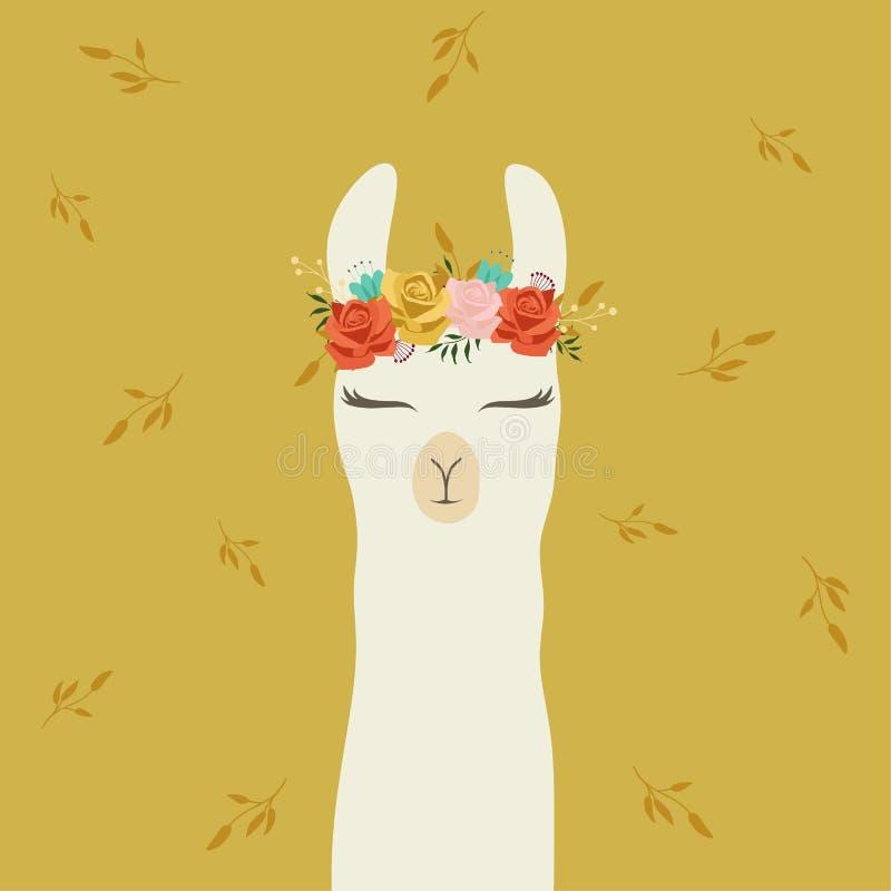 Gullig lama med den härliga teckningen för blommakronahand stock illustrationer