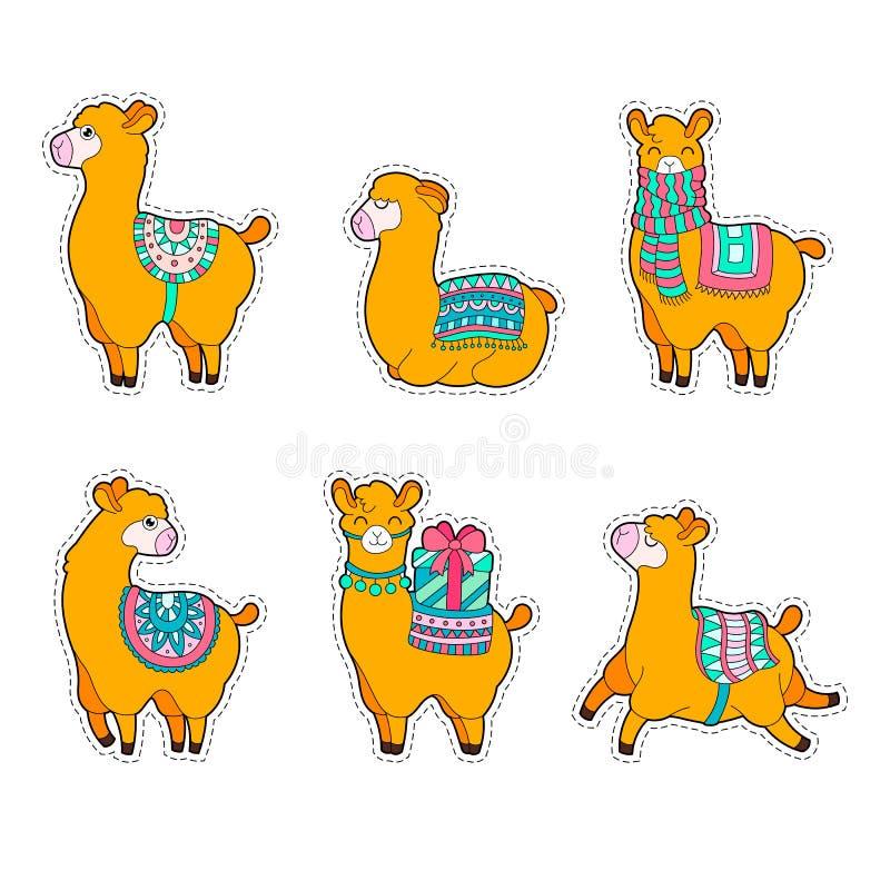 Gullig lama- och alpacaklistermärke Illustration för vektor för sommar för tecknad filmlamatecken stock illustrationer