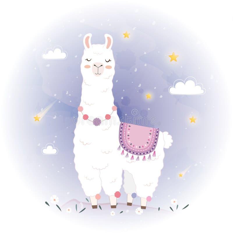 Gullig lamadesign med meteor royaltyfri illustrationer