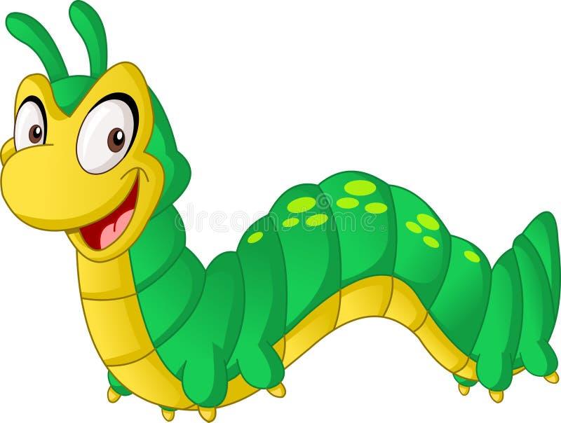 Gullig larv för tecknad film Vektorillustration av det roliga lyckliga djuret stock illustrationer