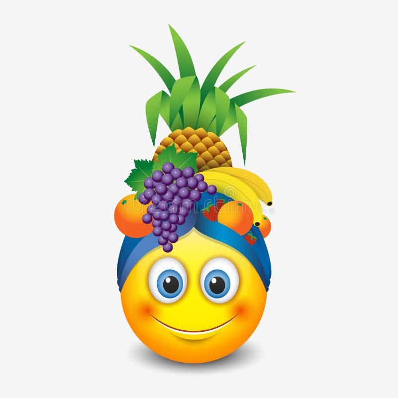 Gullig le bärande frukthatt för emoticon, emoji, smiley - vektorillustration stock illustrationer