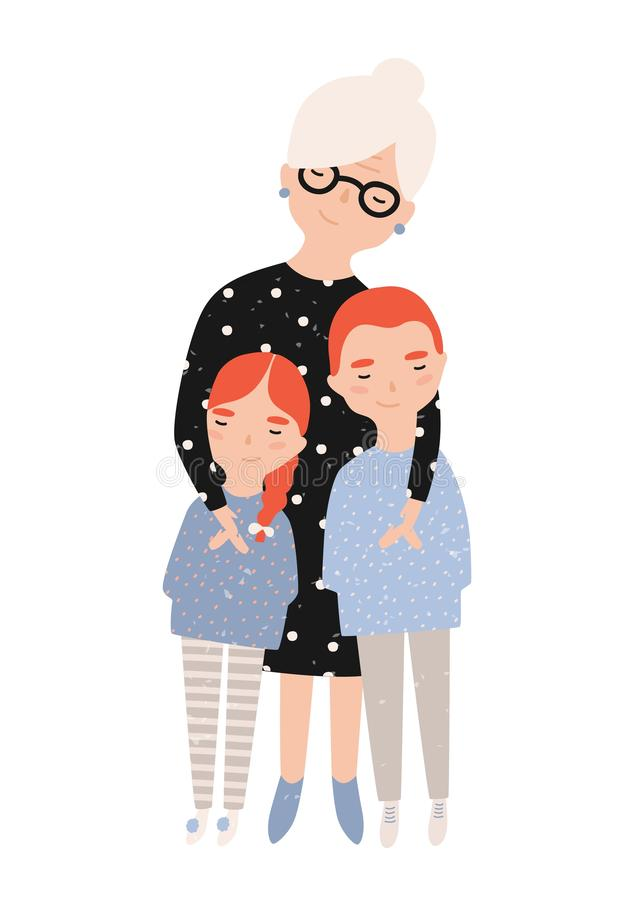 Gullig le farmor som kelar hennes sonson och sondotter Stående av farmodern och barnbarn Förtjusande tecknad film stock illustrationer