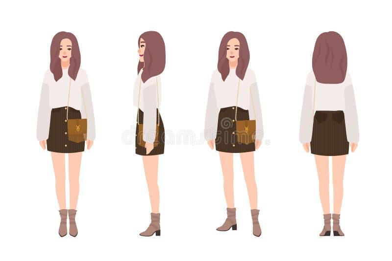 Gullig le iklädd moderiktig tillfällig kläder för flicka Nätt bärande förkläde för ung kvinna och kortkortkjol Stilfull dräkt royaltyfri illustrationer