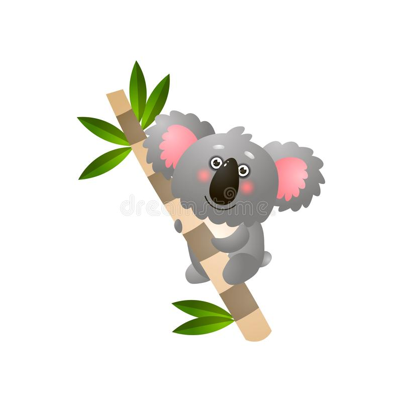 Gullig le koala på eukalyptusträdfilial vektor illustrationer