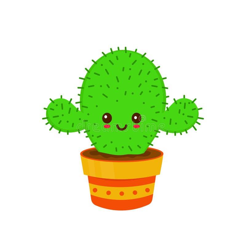 Gullig le lycklig rolig kaktus vektor illustrationer
