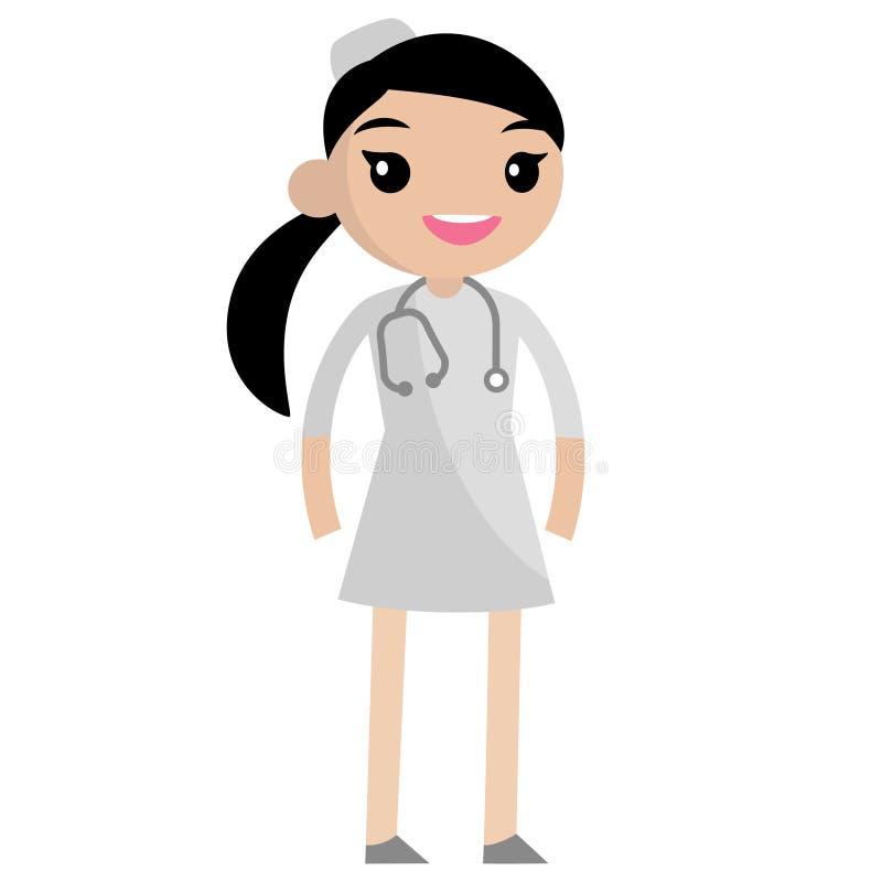 Gullig le sjuksköterska vektor illustrationer