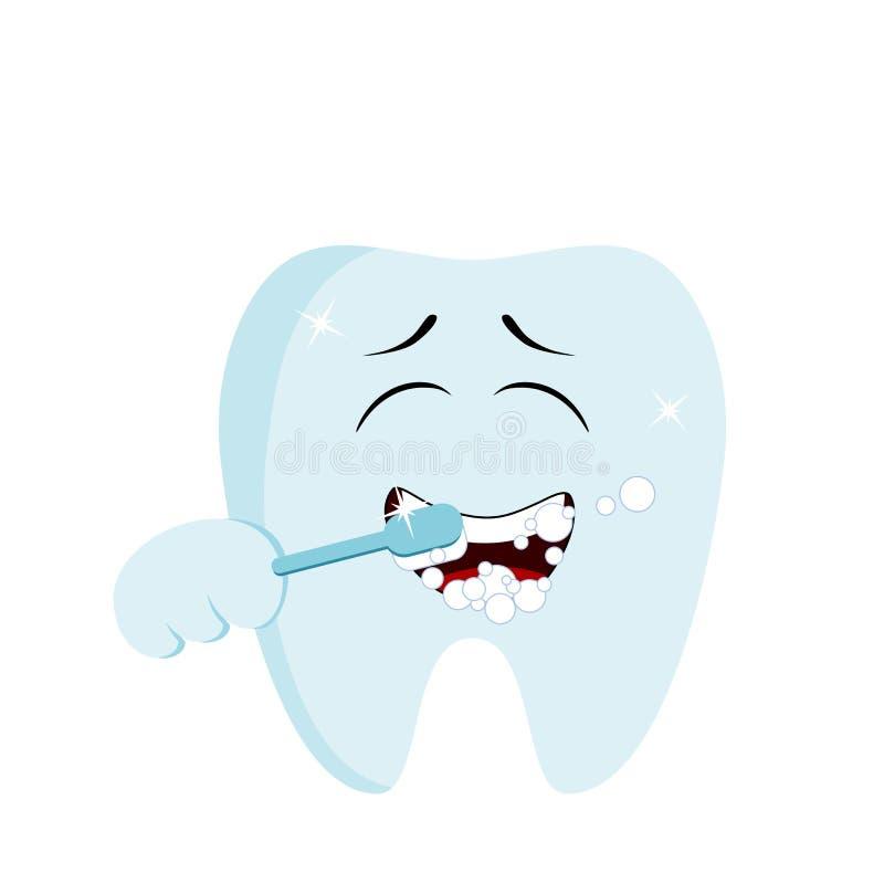 Gullig le tand som gör sig ren med en tandborste Isolerat ?ver vit bakgrund stock illustrationer