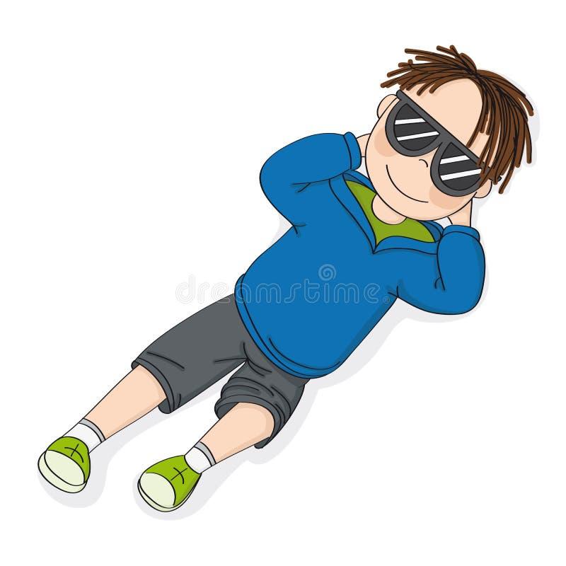 Gullig le tonårs- pojke med svarta solexponeringsglas som ligger, vilar och dag som drömmer på hans baksida - utdragen illustrati royaltyfri illustrationer