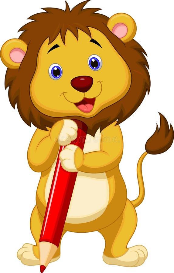 Gullig lejontecknad film som rymmer den röda blyertspennan stock illustrationer