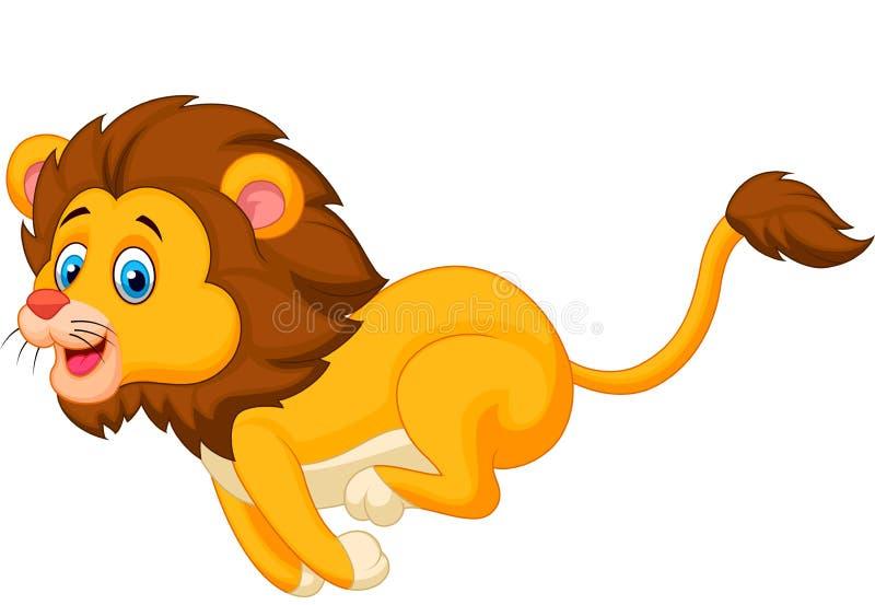 Gullig lejontecknad filmspring stock illustrationer